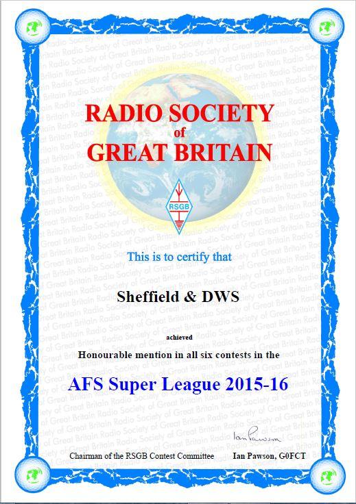 SDDWS AFS Cert 2016